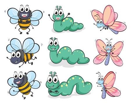 gusano caricatura: Ilustraci�n de una oruga, una mariposa y una abeja sobre un fondo blanco