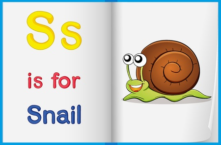 Illustration of a snail in a book on a white background Vector