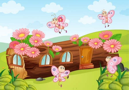 childrens: Illustration of butterflies and a wood house on a white background