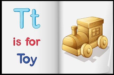 kindergarten toys: Illustration of a toy in a book on a white background Illustration