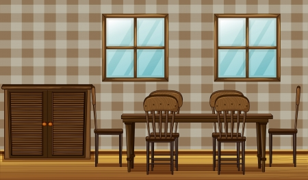 comfort room: Illustration of a dinning table and wardrobe in a room Illustration