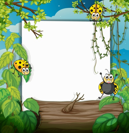 Illustration of ladybugs and a white board in a beautiful nature Vector