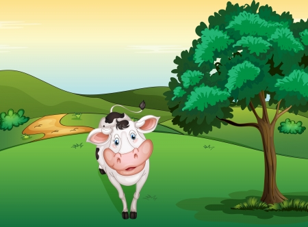 Illustration of a smiling cow in a beautiful nature Stock Vector - 17161779