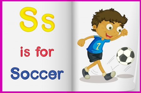 learning english: Illustration of a kid playing soccer in a book on a white background Illustration