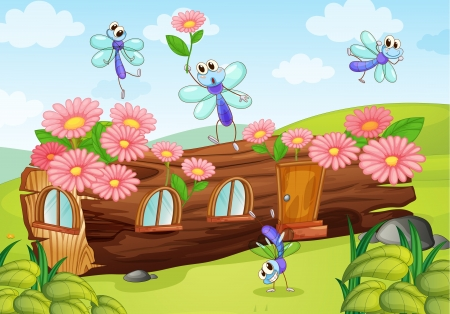 Illustration of flies and a wood house on a white background