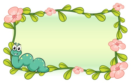 illustration of a caterpillar and a flower plant frame on a white background Stock Vector - 17148093
