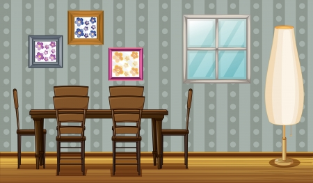 Illustration of a dinning table and a lamp in a room Vector