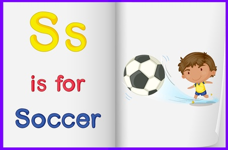 english language: Illustration of a kid playing soccer in a book on a white background Illustration