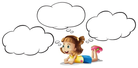 thinking balloon: illustration of a smiling girl and a speech bubble on a white background
