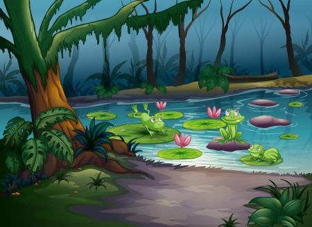 greenery: Illustration of frogs and a river in a scary jungle