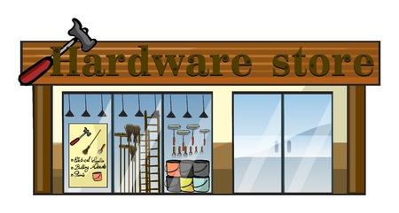 equipos: Ilustraci�n de un almac�n de hardware en un fondo blanco