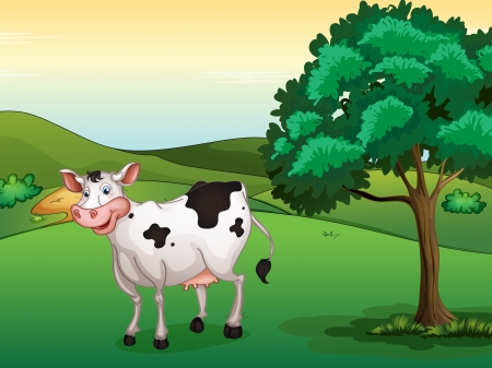 wildlife smile: Illustration of a smiling cow in a beautiful nature