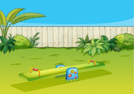 kids playground: Illustration of a sea-saw playing equipment in a beautiful nature