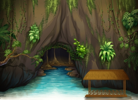 in the shade: Illustration of a cave, a water and a wooden shade in a beautiful nature