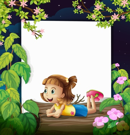 message board: Illustration of a smiling girl and a white board in a beautiful dark night