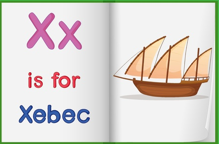 learning english: Illustration of a xebec in a book on a white background Illustration