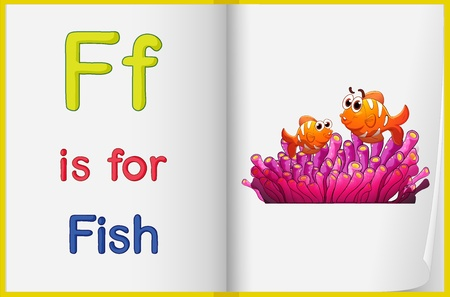 english language: Illustration of a fish in a book on a white background Illustration
