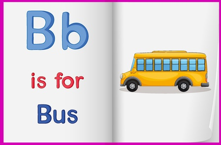 Illustration of a bus in a book on a white background Vector