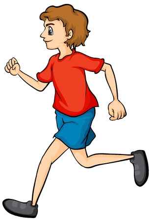 one boy: Illustration of a boy running on a white background Illustration