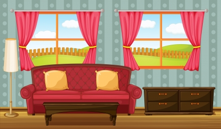 Illustration of a red sofa and side table in a room Stock Vector - 17161684