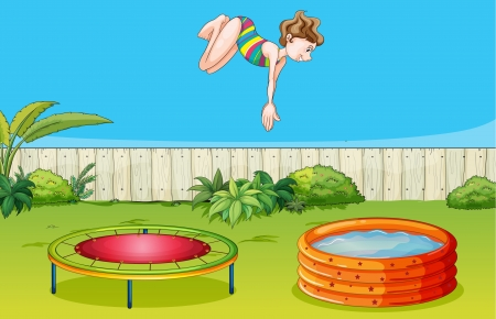 Illustration of a girl playing trampoline in a beautiful garden Vector