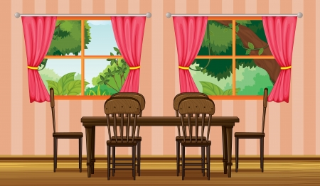 dinning table: Illustration of a dinning table in a room