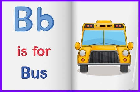 english language: Illustration of a bus in a book on a white background