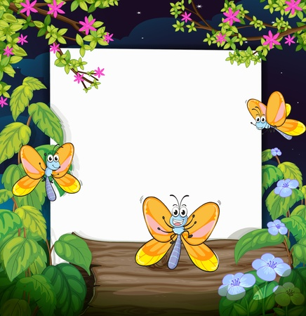 Illustration of butterflies and a white board in a beautiful dark night Vector