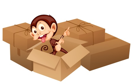 Illustration of a smiling monkey and boxes on a white background Stock Vector - 17161732