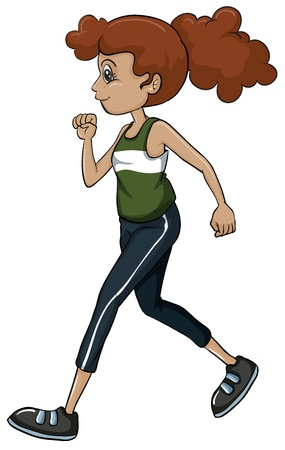 full pant: Illustration of a girl running on a white background