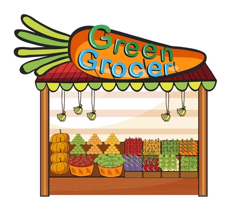 Illustration of a green grocer shop on a white background Vector