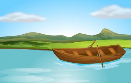 Ilustración de un río y un barco en una hermosa naturaleza