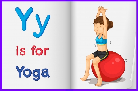 english language: Illustration of a yoga in a book on a white background Illustration