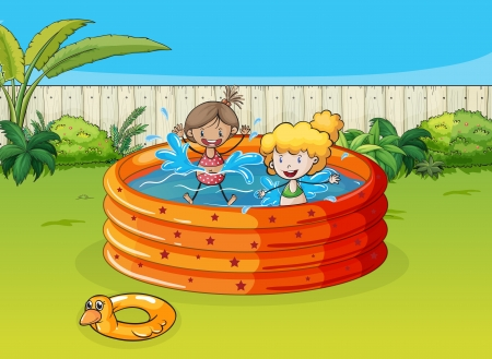 Illustration of girls playing in swimming pool in a beautiful garden Vector