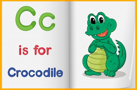 learn english: Illustration of a crocodile in a book on a white background