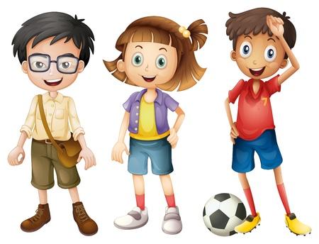 deportes caricatura: Ilustración de los chicos y una chica de pie sobre un fondo blanco