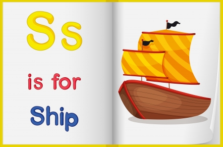 learn english: Illustration of a ship in a book on a white background Illustration
