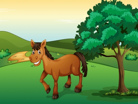 Illustration of a smiling horse in a beautiful nature Stock Vector - 17161781