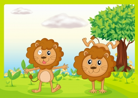 bush babies: Illustration of dancing lions in a beautiful nature
