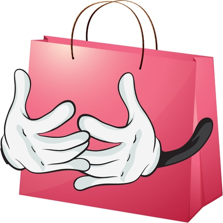 Illustration of a red bag on a white background