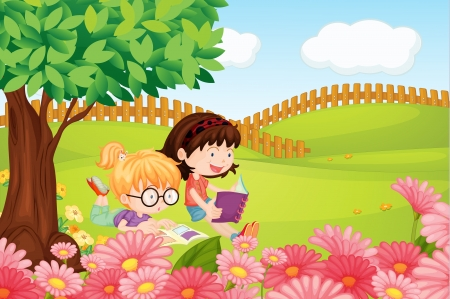 studing: Illustration of girls reading books in a beautiful nature Illustration
