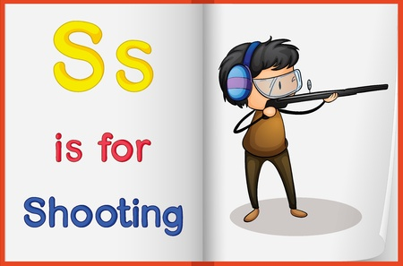 Illustration of a shooting in a book on a white background Vector