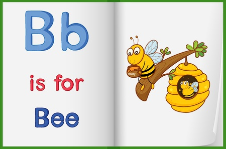 learning english: Illustration of a bee in a book on a white background Illustration