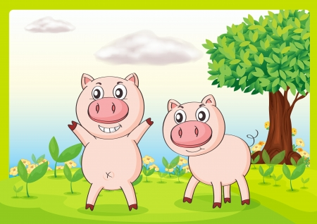 Illustration of smiling pigs in a beautiful nature Stock Vector - 17161782