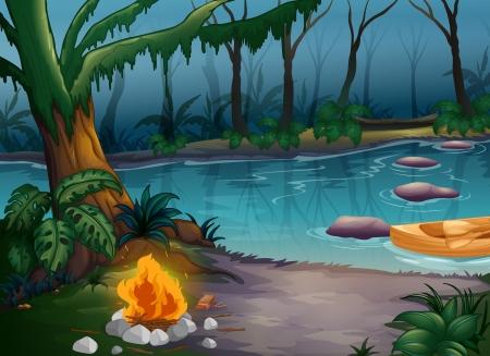 incendio bosco: Illustrazione di un fiume e di un fuoco da campo in un pauroso giungla