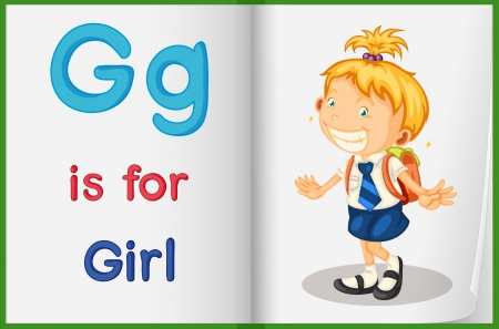 english language: Illustration of a girl in a book on a white background Illustration