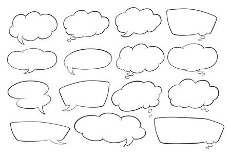 bande dessin�e bulle: illustration de diff�rentes formes de bulles sur un fond blanc