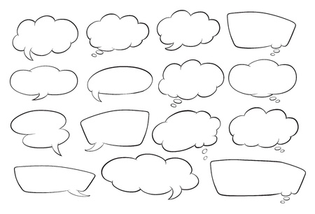 message bubble: illustration of various shapes of speech bubbles on a white background Illustration