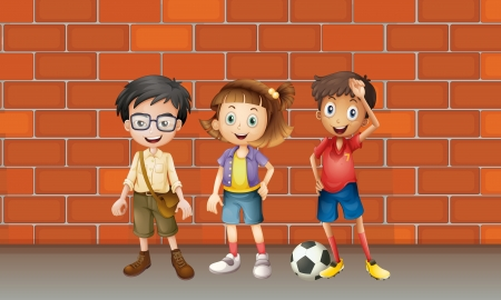 pals: Illustration of boys and a girl standing in front of wall Illustration
