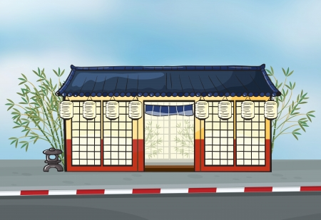 Illustration of a japanese restaurant near a street Vector
